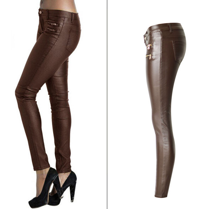 Women Low Waist Stretch Pu Leather Pants Fake Zippers Fashion Double Zippers Casual Pants Streetwear Large Size Pencil Trousers