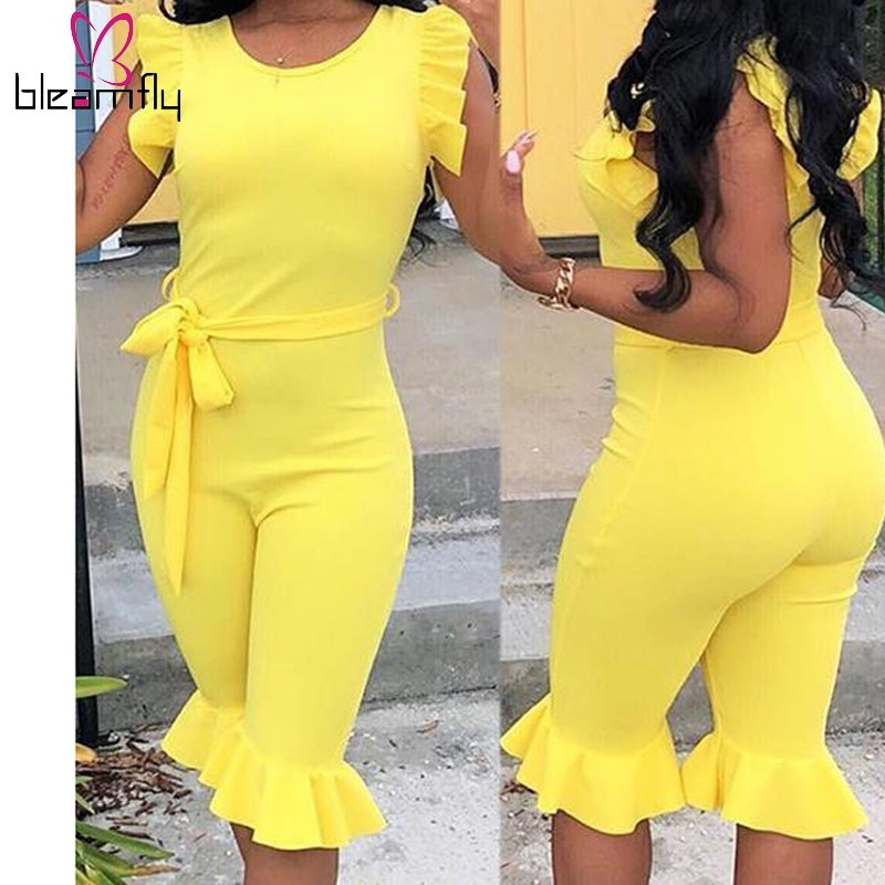 Women Sexy Bodycon Rompers   Jumpsuit   Ruffled Sexy Elegant Sleeveless   Jumpsuits   Short Playsuit With Belt Overalls 2019