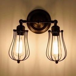W stylu Vintage Retro przemysłowe Edison antyczne jasnego szkła 2 regulacja światła kinkiety Cafe Bar kawiarnia klub w Wewnętrzne kinkiety LED od Lampy i oświetlenie na