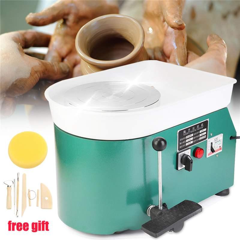 1 ensemble 220 V 250 W Vert Couleur Plug UA Électrique Poterie Roue En Céramique Machine argile pour travaux pratiques Art outils pour l'artisanat Équipement