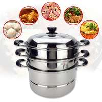 3 Tier Stainless Steel Steamer Cookware Multi function Food Steam Pot Home Induction Cooker Kitchen Thickened Bottom Pot 36cm