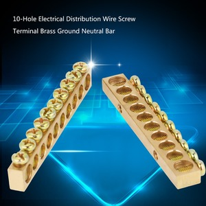 Image 5 - 10pcs 10 Hole Electrical Distribution Wire Screw Terminal Brass Ground Neutral Bar HOT