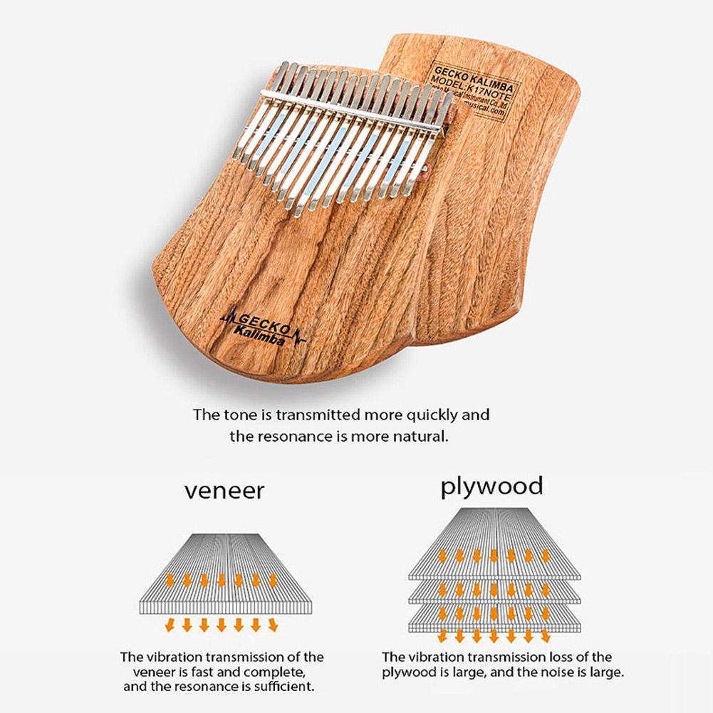 GECKO 17 Keys Kalimba African Camphor Wood Thumb Piano Finger Percussion Quality Wood Musical Instrument Mbira Likembe Sanza