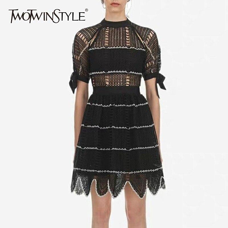 TWOTWINSTYLE Hollow Out Lace Dress Female Short Sleeve Bowknot Bandage High Waist Asymmetrical Hem Dresses Women