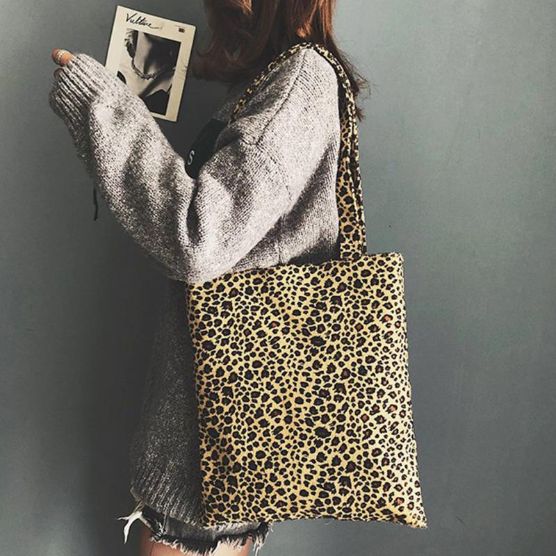 Tote Travelling-Shoulder-Bag Print Leopard Soft School-Girl Student Fashion Women Casual