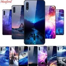 Hot Case For Samsung Galaxy A50 6.4 Luxury Glass Hard PC Back Cover A505F Soft TPU Frame Funda Coque