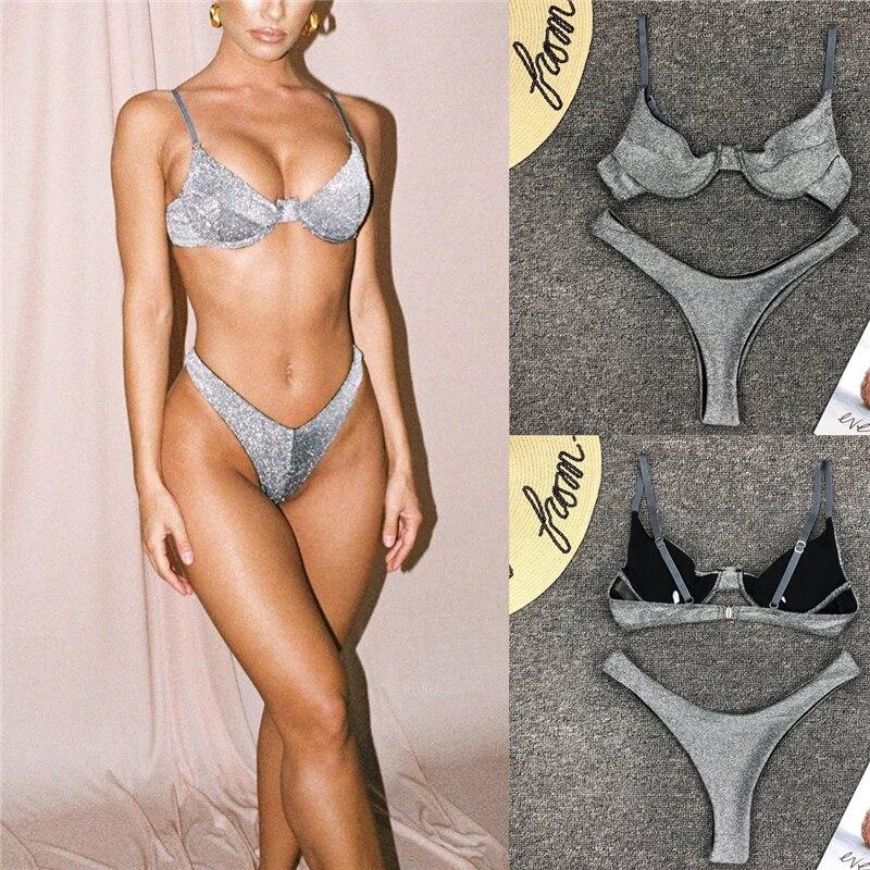 2019 Summer Sexy Women Shining Silver Push-up Soft Bra Bikini Briefs Beachwear Triangle Swimwear