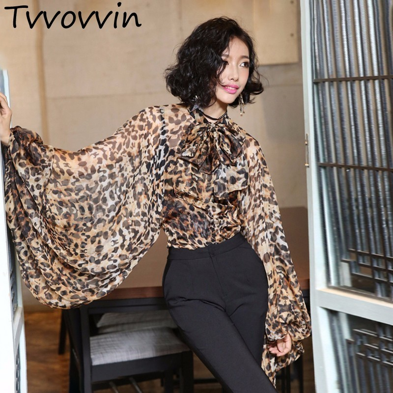 2019 Autumn Leopard Shirt Female Chiffon Lace Up Bow Lantern Sleeve Oversize Blouse Top For Women