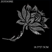 ZOTOONE Elegant Flower Pettern Rhinestone Applique Hotfix Heat Transfer Iron on Stones Crystals Strass for Needlework
