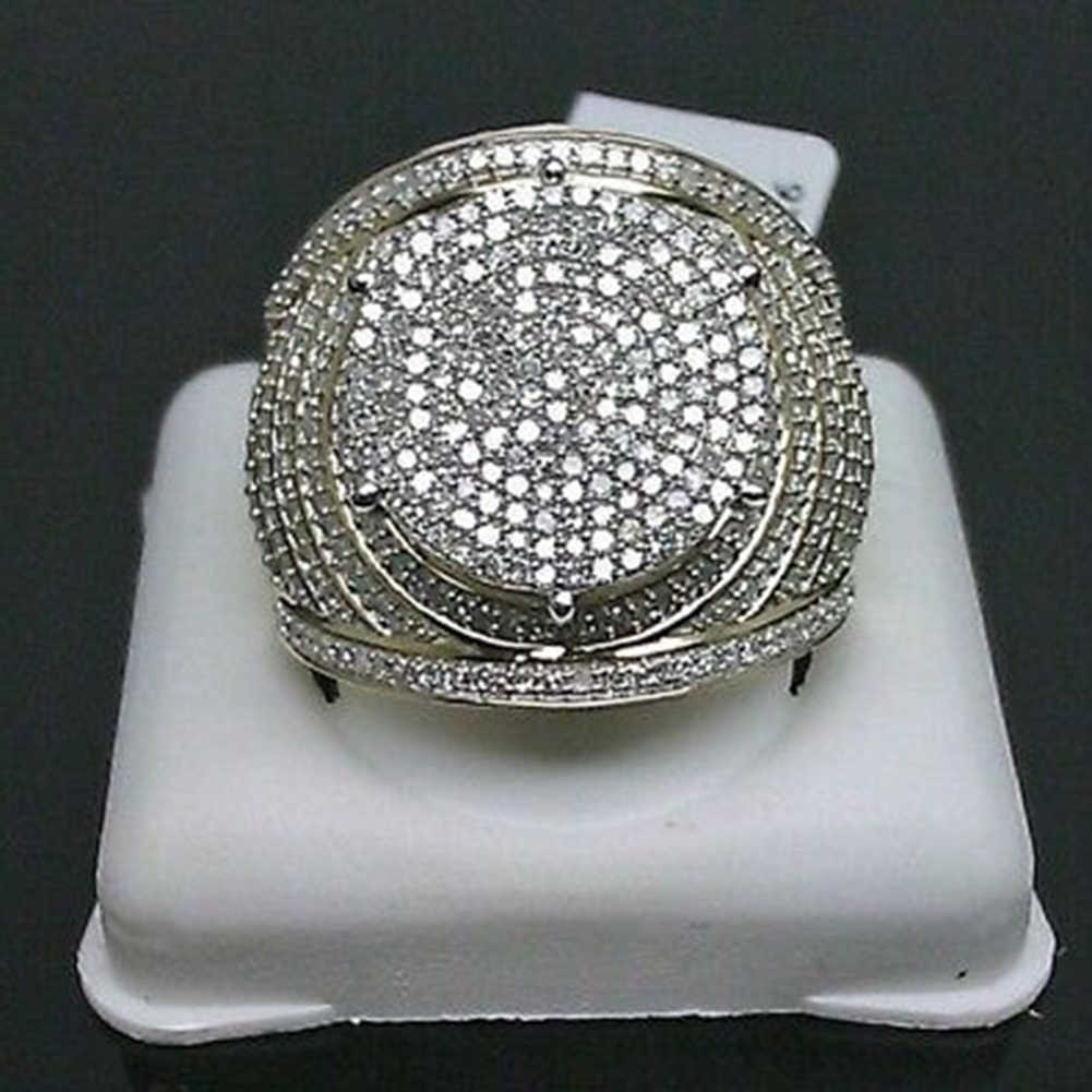 Vintage 10 K สีเหลืองทองสีขาว Sapphire แหวนผู้หญิงผู้ชายเครื่องประดับงานแต่งงาน