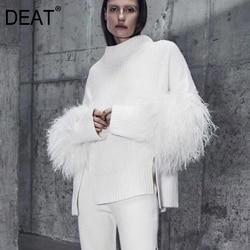 DEAT, новинка 2019, Весенняя мода, водолазка, рукава-фонарики, мех, пэчворк, ВЯЗАННЫЙ ПУЛОВЕР, эластичный свободный французский свитер, WC35100L