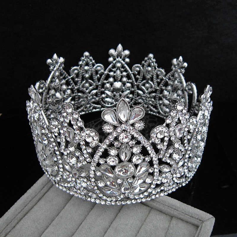 Di lusso Pieno e Rotondo Big Principessa Corona per la Cerimonia Nuziale Tiara Della Sposa Argento Dei Monili Dei Capelli Di Compleanno Da Sposa di Bellezza Queen Corone Accessori