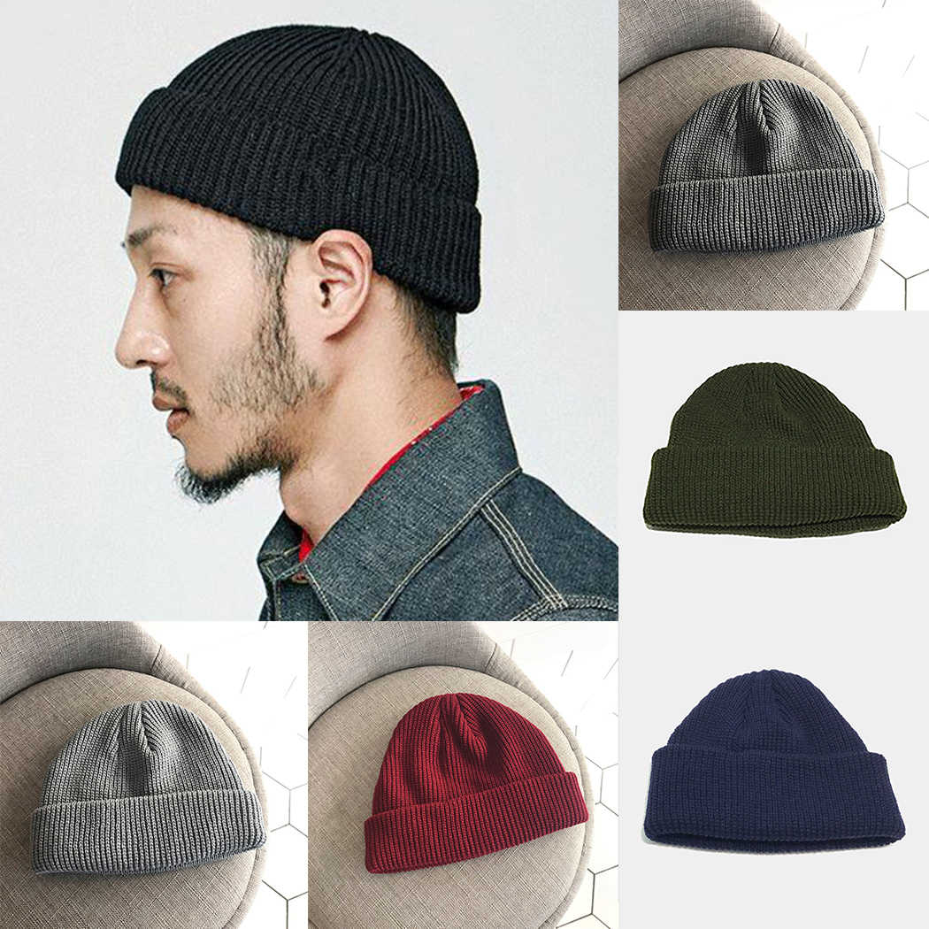 6a0cfe2ac1fcf New Fashion Men Knitted Hat Wool Blend Beanie Skullcap Cap Brimless Hip Hop  Hats Casual Black