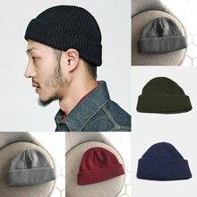 Los nuevos hombres de la moda sombrero de punto de mezcla de lana Beanie  gorra tapa sin ala Hip Hop sombreros negro vino rojo gr. f899e5e7ad6