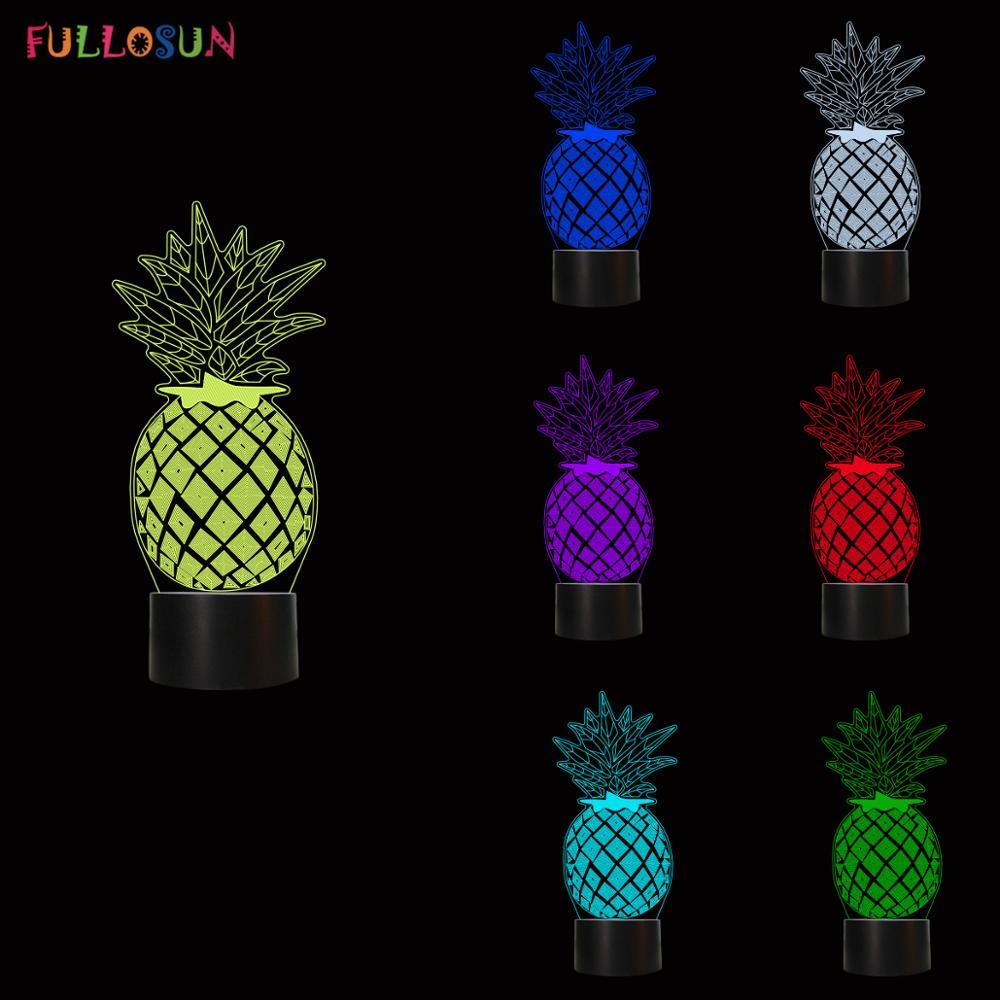 Pineapple LED 3D Illusion Night Lights 7 Color USB Lamp LED Sleeping Novelty Lights in Novelty Lighting from Lights Lighting