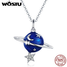 WOSTU 925 Sterling Silver Blue Planet Star Moon Pendant Necklace For Women Dazzling Style Unique Delicate Jewelry Gift CTN007