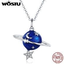 Wostu 925 prata esterlina azul planeta estrela lua pingente colar para as mulheres deslumbrante estilo único delicado jóias presente ctn007