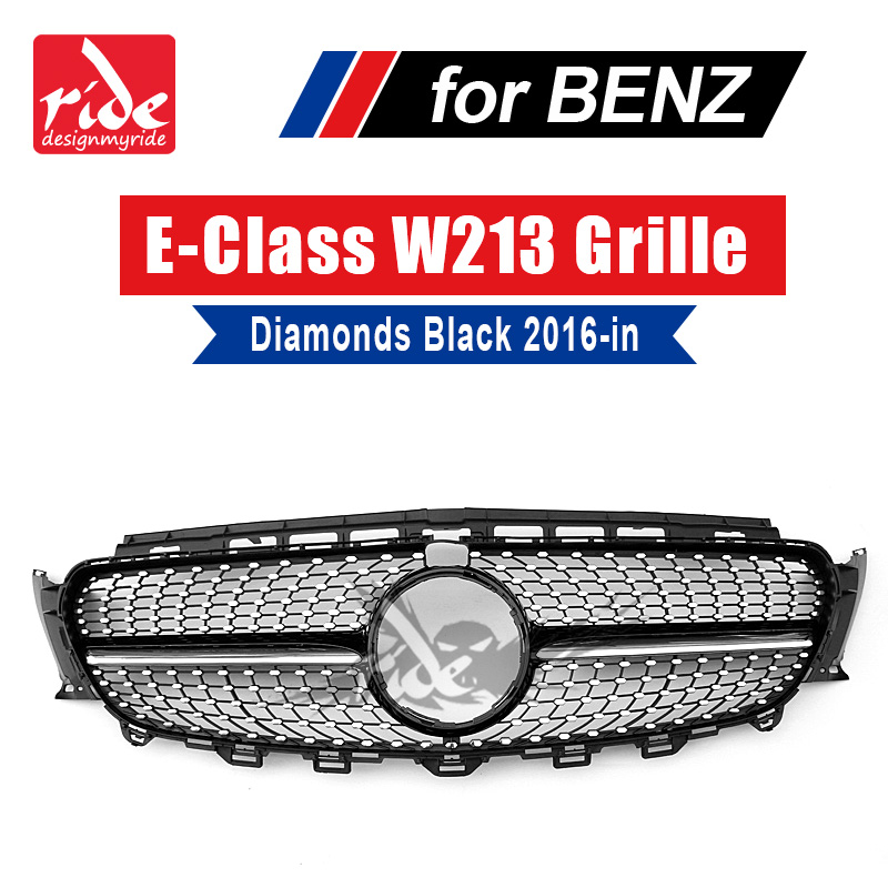 For Mercedes-Benz W213 Sports Diamond grille grill ABS Black With Camera E class E200 E250 E300 E350 E400 E500 E550 grills 16-18 image