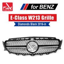 For Mercedes-Benz W213 Sports Diamond grille grill ABS Black With Camera E class E200 E250 E300 E350 E400 E500 E550 grills 16-18 цена в Москве и Питере