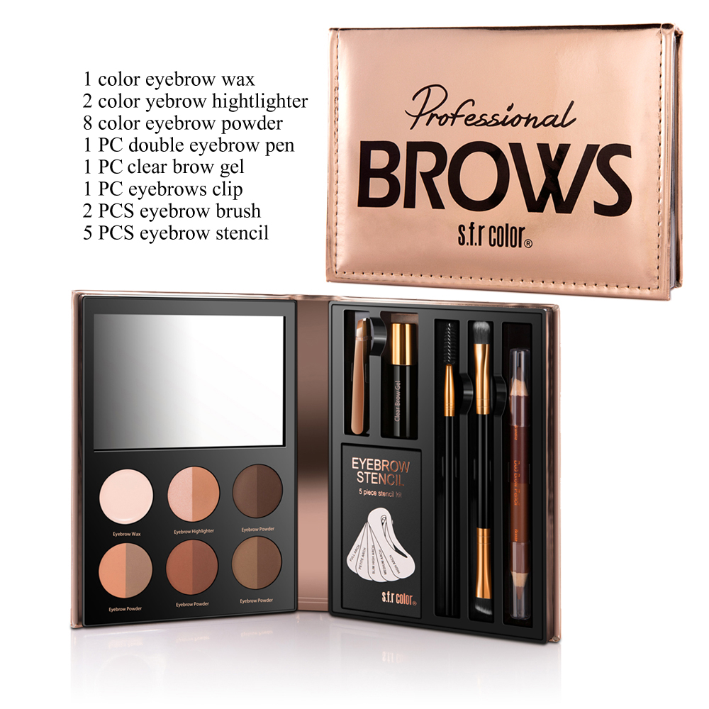 1 Box S.F.R Color Eyebrow Powder Palette Make Up Kits With Brushes Set Eyebrow Cosmetics Brush Mirror Box Makeup Tools Set TSLM2 whiskey steine test