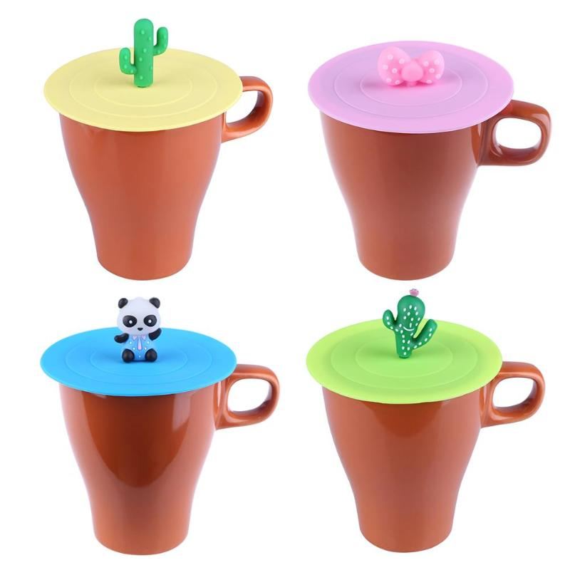 Silicone Leakproof Cup Lids Heat Resistant Reusable Kitchen Sealed Cover Strong Adsorbability