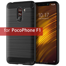 For Xiaomi Pocophone F1 Case Shockproof Carbon Fiber Soft Silicone Case for Xiaomi Pocophone F1 Poco F1 Protective Cover Bumper luxury carbon fiber protective tpu silicone back cover for xiaomi mi9 mi 9 se pocophone f1 poco f1 shockproof phone case