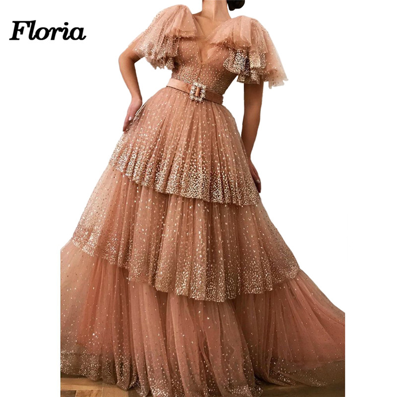 New Sexy V Neck Ball Gown Evening Dresses 2019 Aibye African Muslim Tiered Arabic Formal Prom Dress Abendkleider Robe de soiree