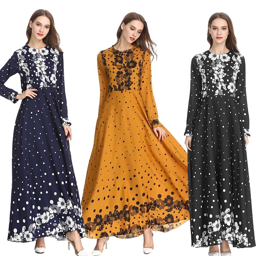 d4427fe1c50c Muslim Women Long Dress Flower Printed Loose Abaya Party Maxi Dress High  Waist Fit And Flare Elegant Dresses Wedding Long Sleeve