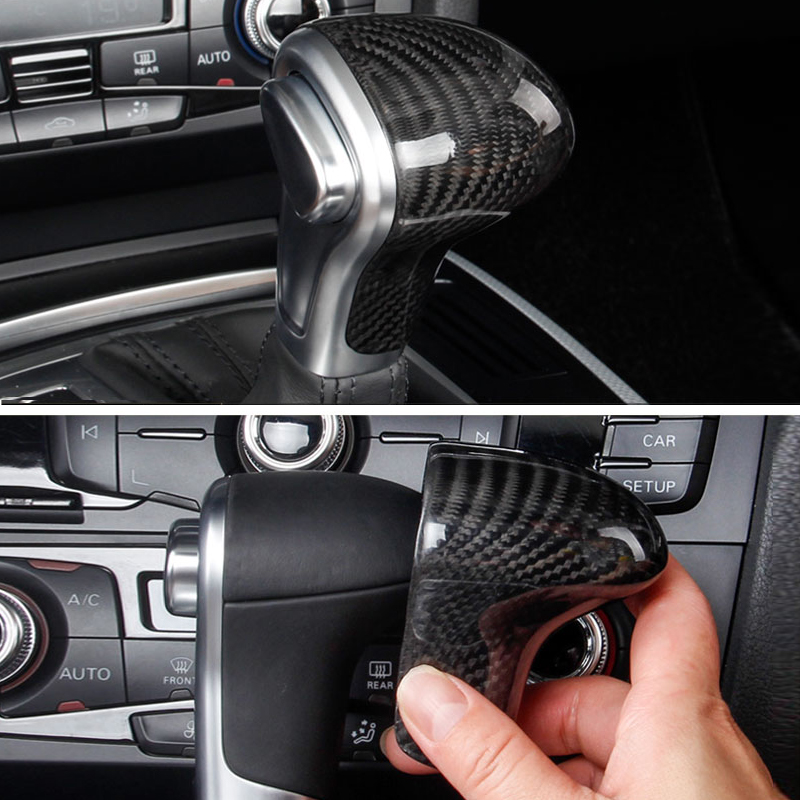 For Audi A4L 13 16 / A5 12 16 / Q5 13 18 / Q7 13 15 A6L 12 15 / A7 S6 S7 Carbon Fiber Car Gear Shift Knob Head Cover only LHD-in Interior Mouldings from Automobiles & Motorcycles