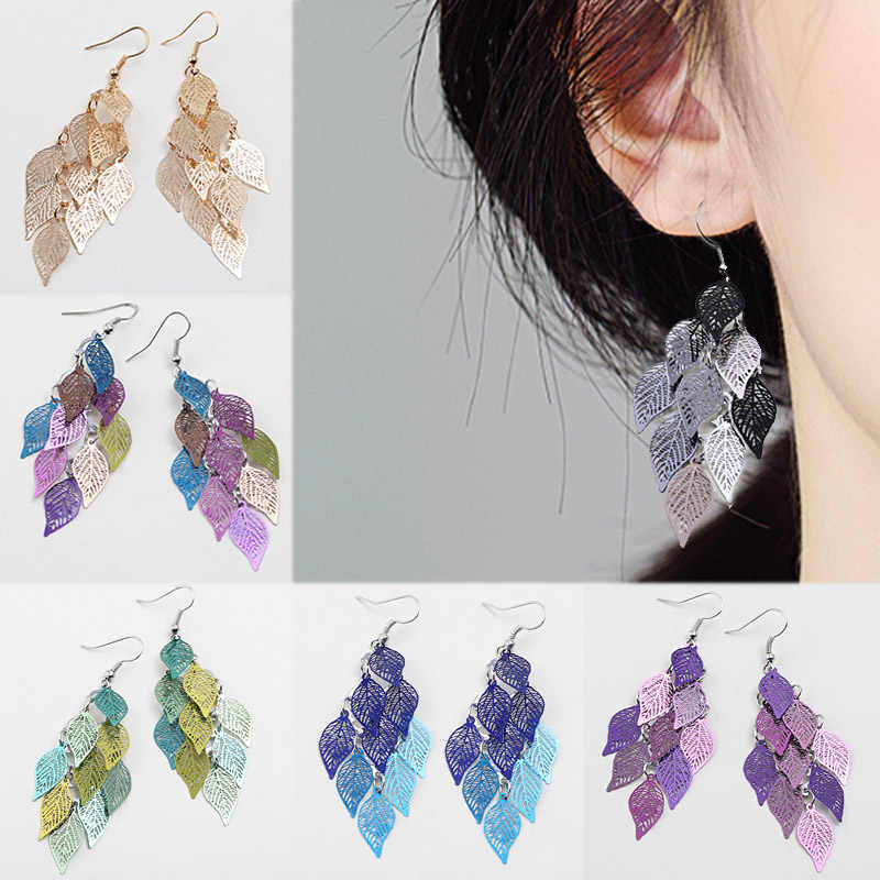 Bohemian Colours 7 Colors Girls 1Pair Long Drop Earring Candy Color Tassel Hollow Leaves Party Earrings Valentines Gift