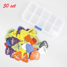 цена на Wholesale 50 Set Guitar Picks With Box Combo 40 pcs Alice Matte ABS Bass Guitar picks with 1 pcs New Clear Plectrums Case Holder