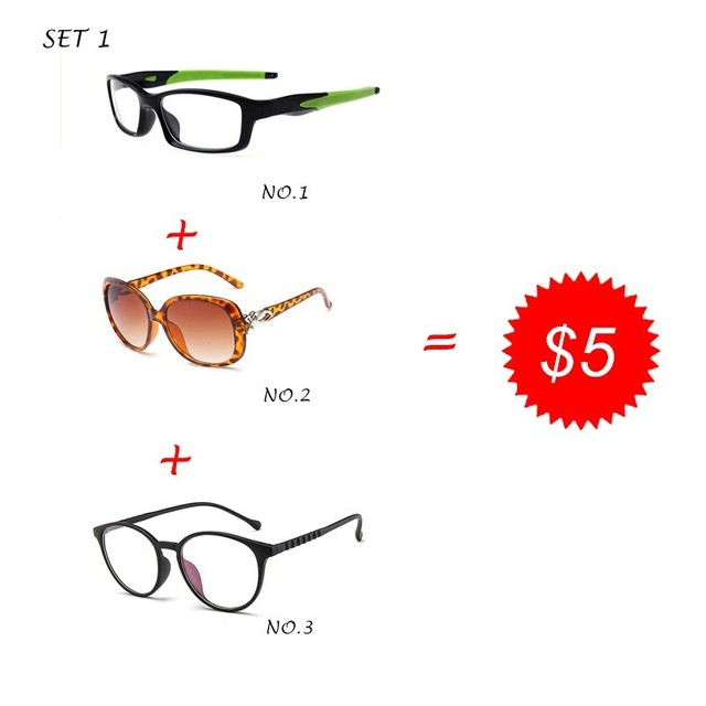 1fc3d1c583 Clearance Promotion TR90 Prescription Glasses Frame Sunglasses 3 Pieces  Combination 5 Dollars Eyewear DD01