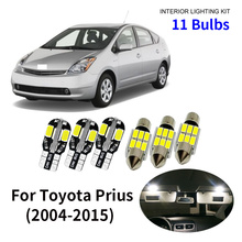 11pcs Car Accessories White Interior LED Light Bulbs Package Kit For 2004-2015 Toyota Prius T10 31MM Map Dome Trunk Lamp цена