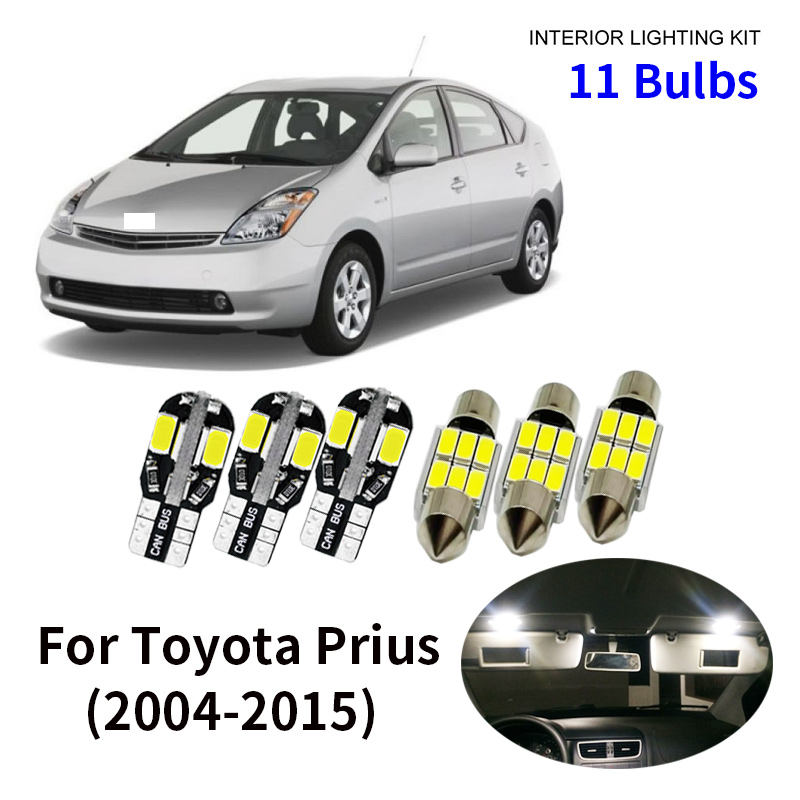 11pcs Car Accessories White Interior LED Light Bulbs Package Kit For 2004-2015 Toyota <font><b>Prius</b></font> T10 31MM Map Dome Trunk Lamp image