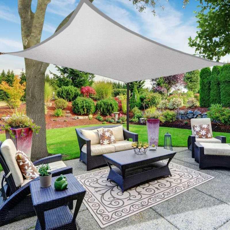 3/4x5 m 5x6 m 6x8 m Protection UV 70% imperméable Oxford tissu extérieur soleil Protection solaire ombre voiles Net auvents cour jardin crypté