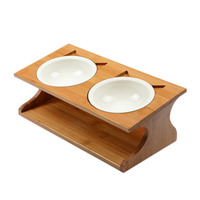 Pet wooden Tilted Feeders Pet Anti slip Double Ceramic Bowl Cat Dish with Slope Base Lovely Pet Bowls with bamboo stand CW210