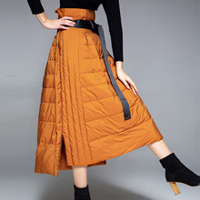 Winter New stylish down skirts solid vent A-line empire waist warm down