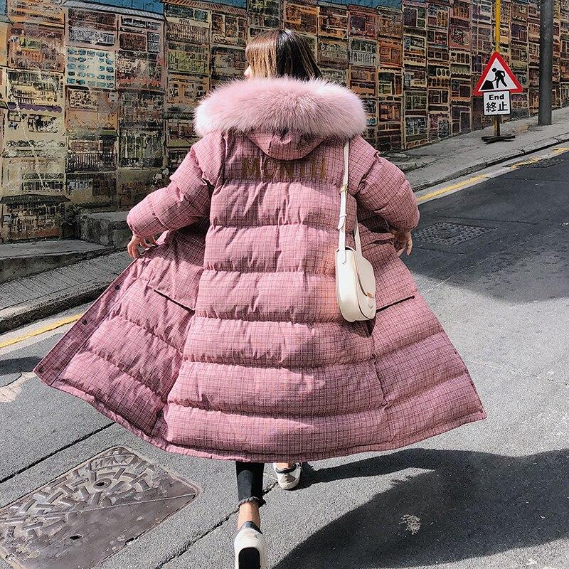 Col Vêtements Femmes La Chaud Okd619 Plus 2018 Pink Outwear Cherry De Manteau Grid Plaid Femelle coffee Long Épais D'hiver Parka Fourrure À Taille Capuchon Veste Matelassé TRRrIq