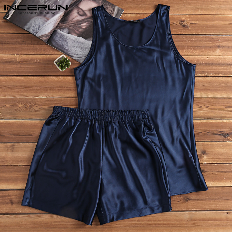 INCERUN Pajamas-Set Sleepwear-Set Shorts Nightgown Homewear Satin Silk Summer Soft Vest