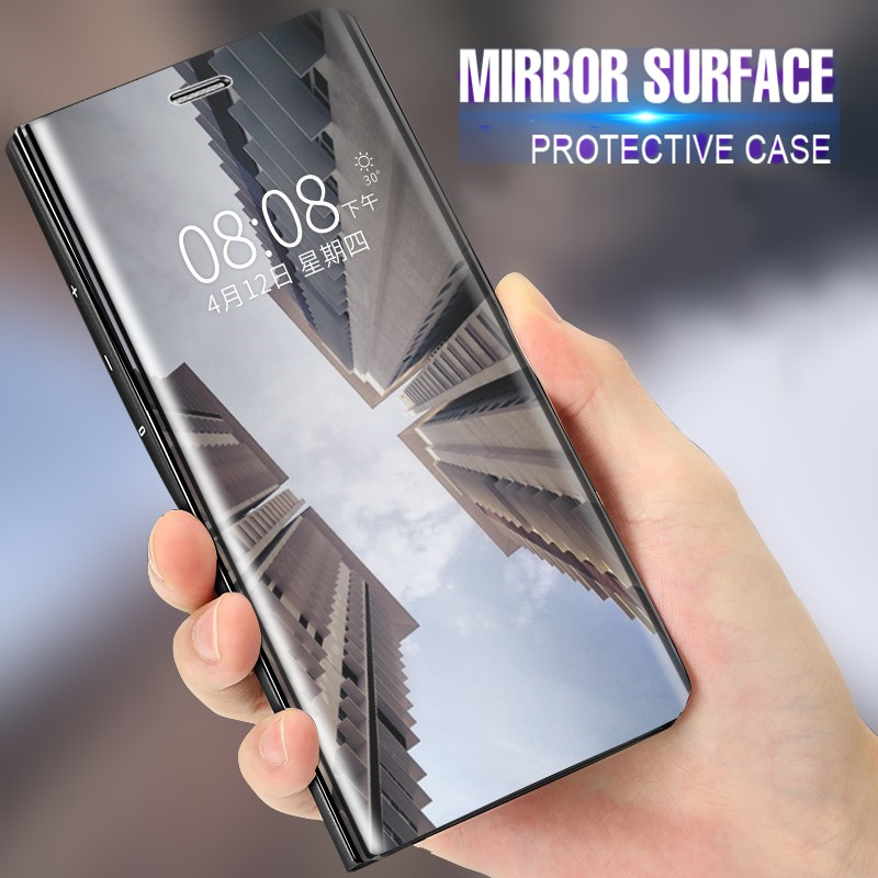 Oppo F5 F7 Smart Leather Flip Case For Oppo R11 Clear View Mirror Smart Cover For OPPO A71 A83 A59 R15 Find X FondX Phone Bags in Fitted Cases from Cellphones Telecommunications