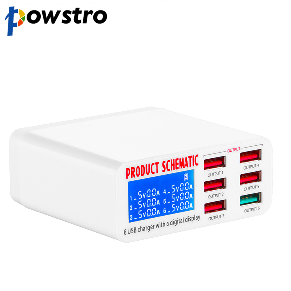 6-Usb-Charger HUB Power-Adapter Charge-Station Led-Display Mobile-Phone Smart Universal