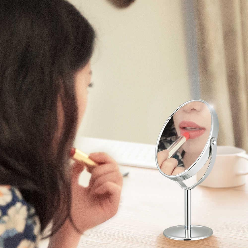 Мини двухстороннее зеркало для макияжа косметическое зеркало двустороннее поворотное настольное зеркало увеличительное вращение косметическое зеркало