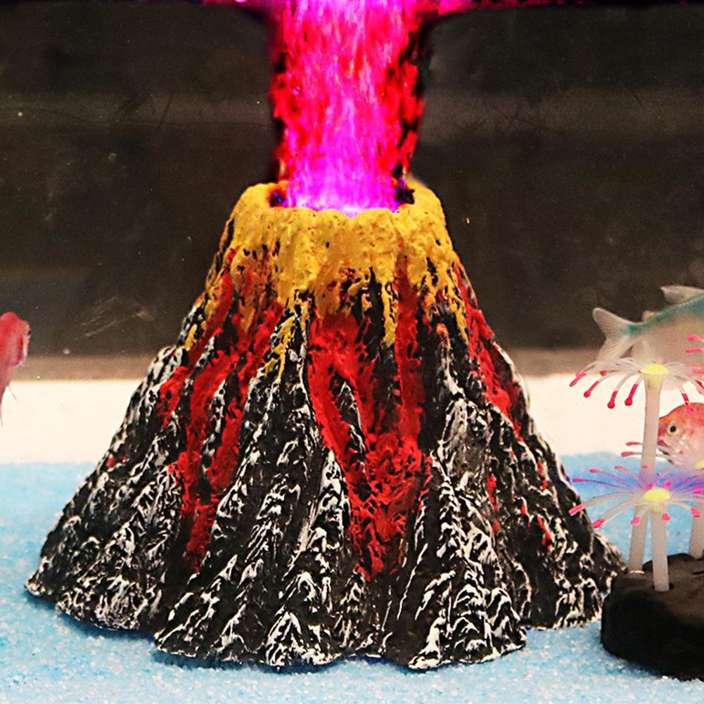 Adeeing Aquarium Vulkaan Vorm Air Bubble Stone Luchtpomp LED licht Set Aquarium Ornament Onderwater Lamp Landschap Decor