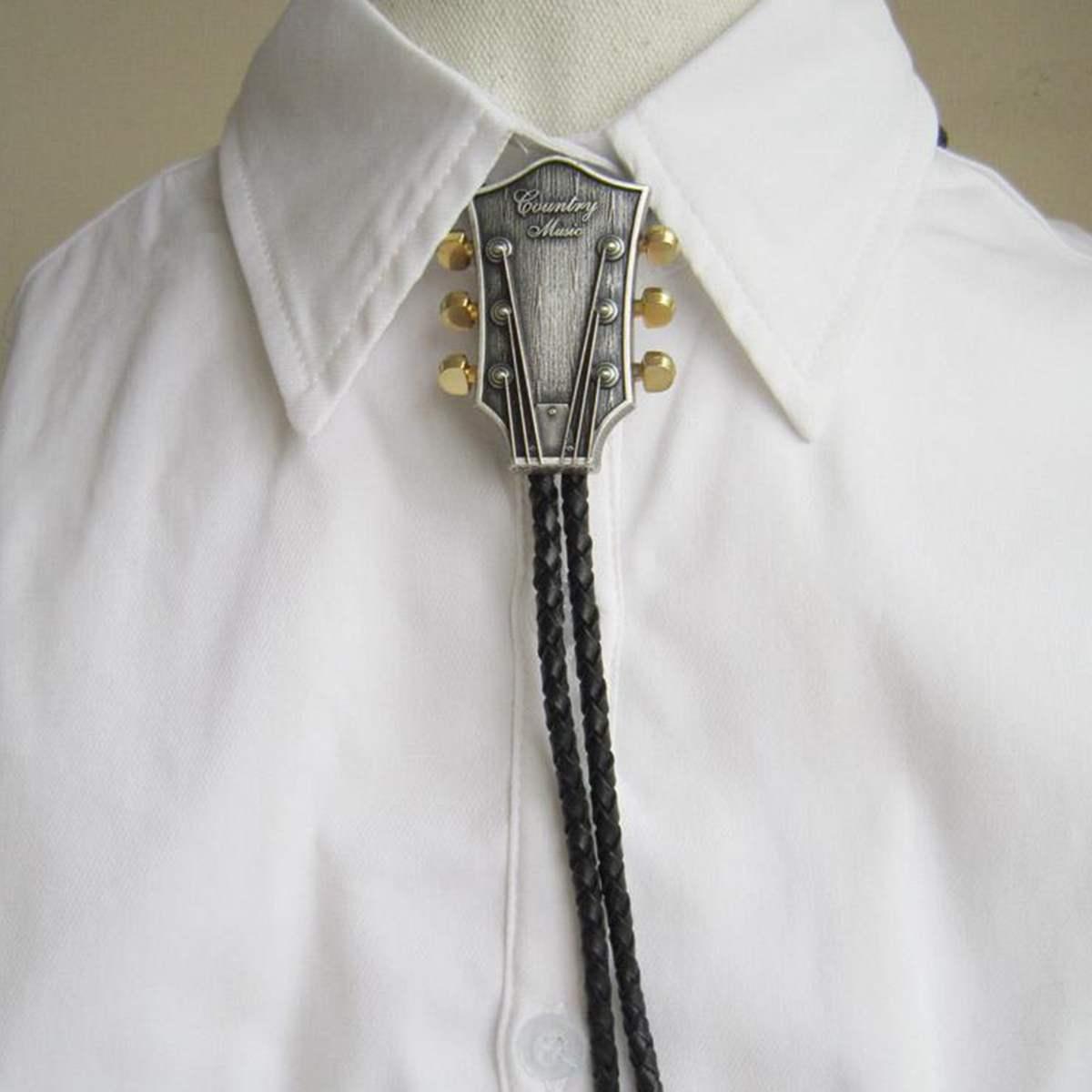 Lesov de los hombres de la moda de vaquero, corbata de Hombre Accesorios negro de cuero de la PU de corbata de Bolo con