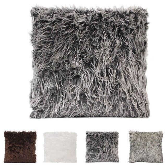 Plush Macio Artificial Fur Plush Throw Pillow Case Capa Home Bed Room Sofá Decoração Peludo Conforto Da Cintura Capa de Almofada Fronha