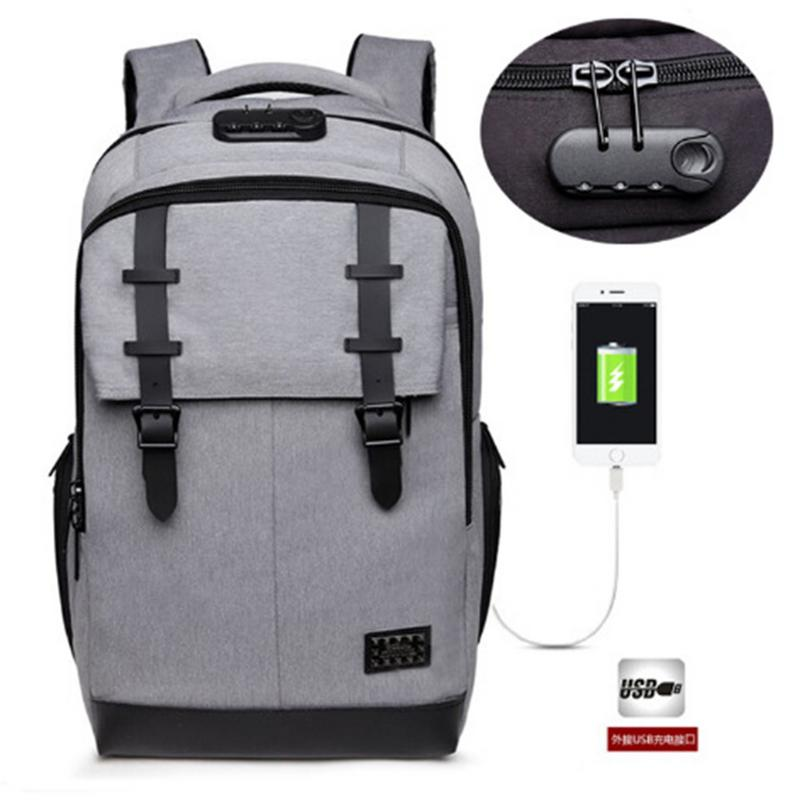 New USB Charging Backbag Travel Daypacks Shoulder Bag Male School Bookbag Leisure Student Computer Backpack Anti-Theft Mochila