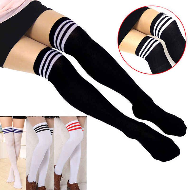 Marka 2019 Yeni Seksi Kadınlar Lady Kız Moda Pamuk Örgü Diz Üzerinde Uyluk Yüksek Çorap Uzun Çizme Sıcak Kablosu çizgili çorap