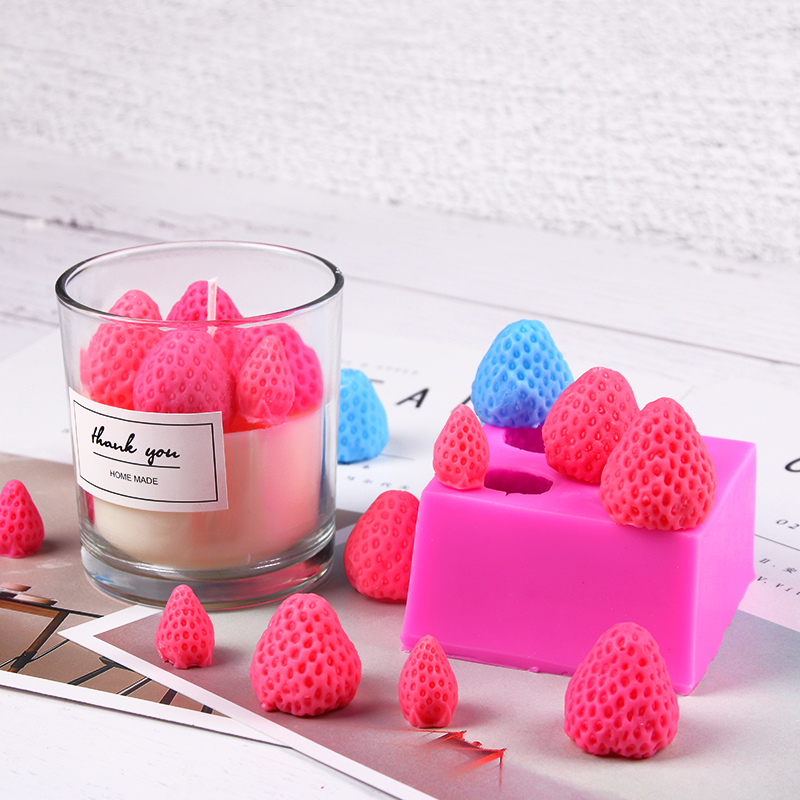 Strawberry Shape Candle Mold Silicone Molds Form For Candle DIY Making Supplies Mold Aromatherapy Candle Mould Handmade