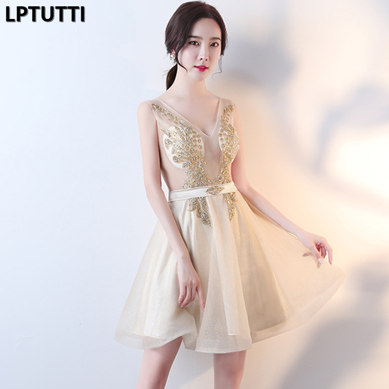 LPTUTTI CRYSTAL Sequin New Sexy Woman Plus Size Social Festive Elegant Formal Prom Party Gowns Fancy Short Luxury   Cocktail     Dress