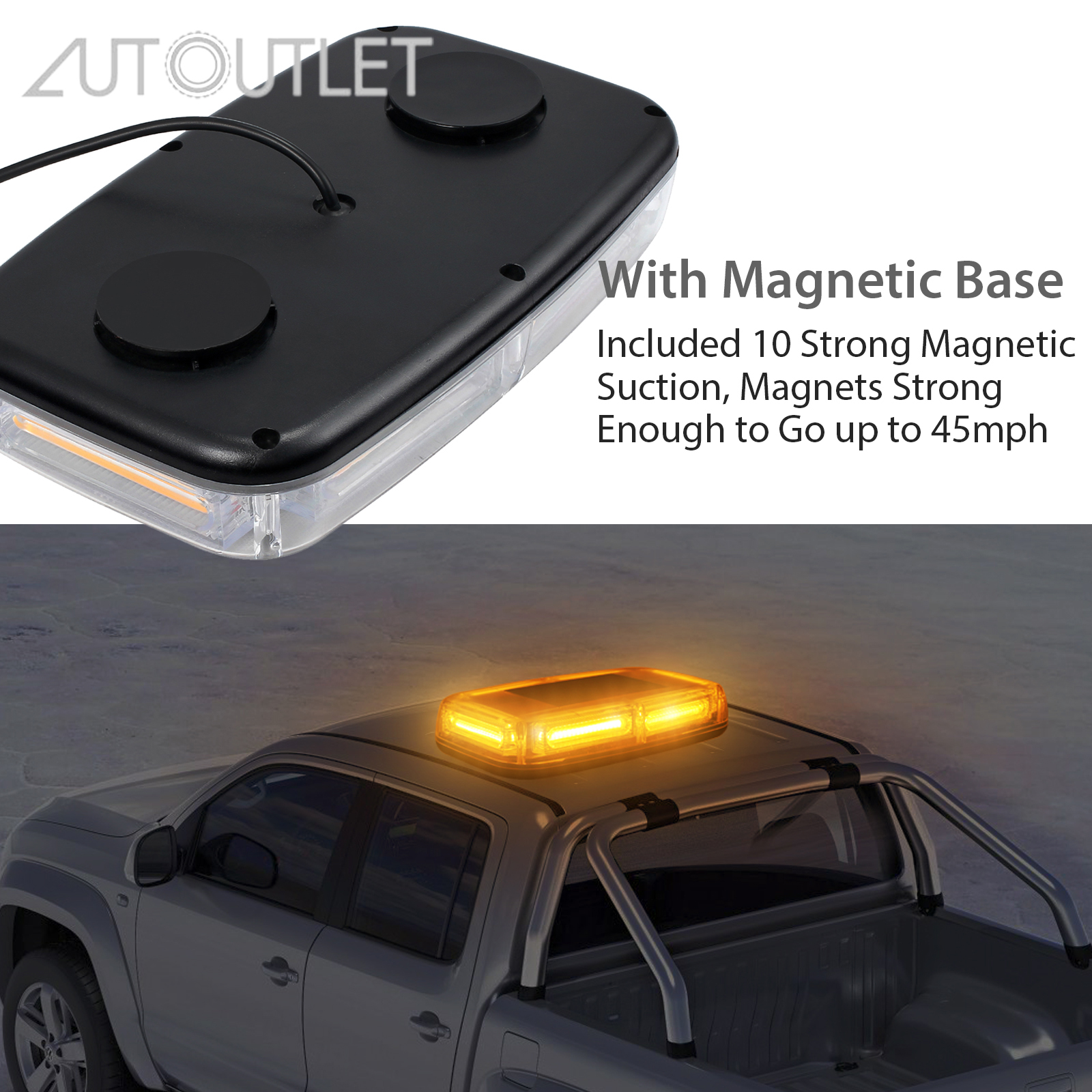 AUTOUTLET for 6/24/72 <font><b>LED</b></font> 12V-24V <font><b>30</b></font> <font><b>LED</b></font> Car Roof Flashing Strobe Emergency Light <font><b>Bar</b></font> Mini Warning Beacons Lights Lighting lamp image